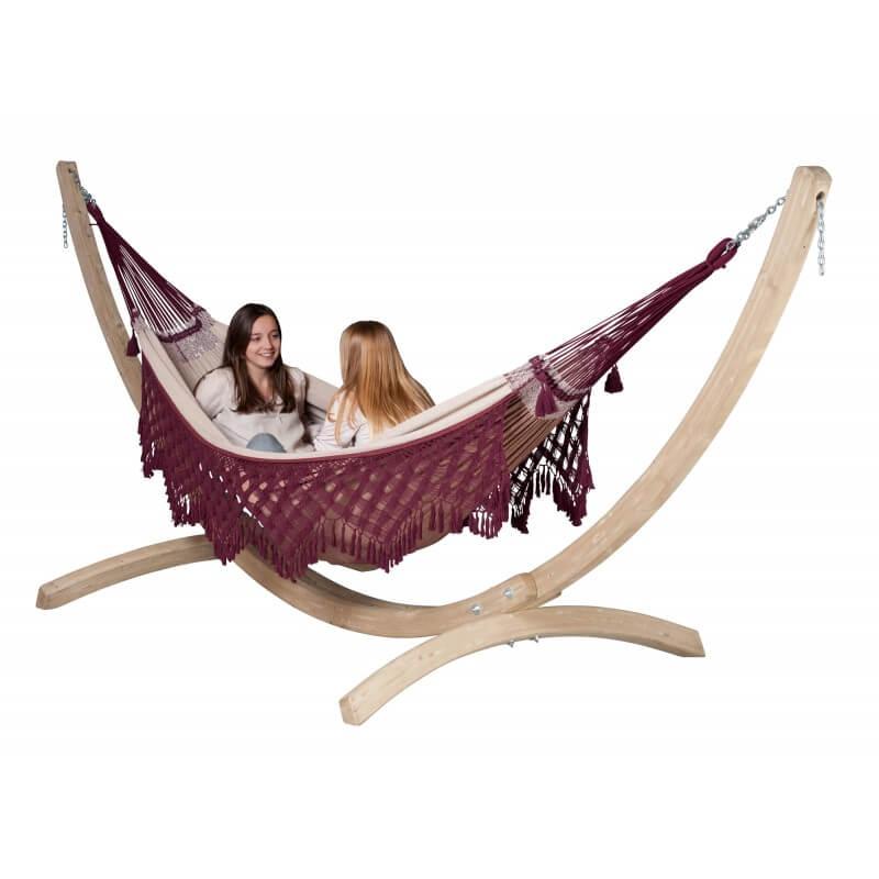 hamac bossanova bordeaux avec support bois. Black Bedroom Furniture Sets. Home Design Ideas