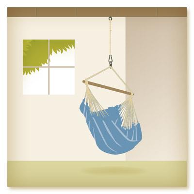 chaise hamac accrochée au plafond