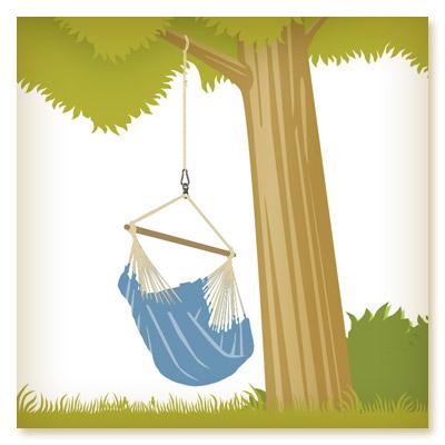 chaise hamac accrochée à une branche