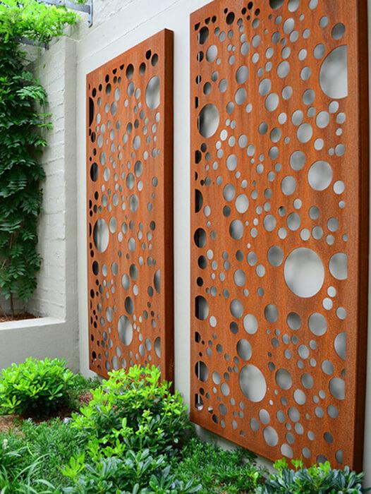 décoration extérieure en acier corten